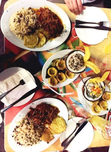 Our delishes meal at the restaurant 'El Diablo' in Panama's old town 'Casco Viejo'