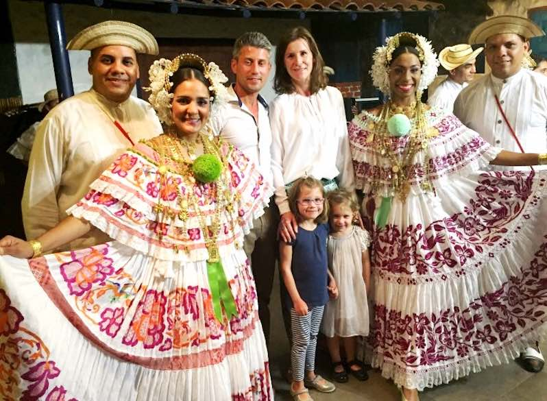 CosmopoliClan posing with the traditional dancers in the Las Tinajas restaurant in Panama City