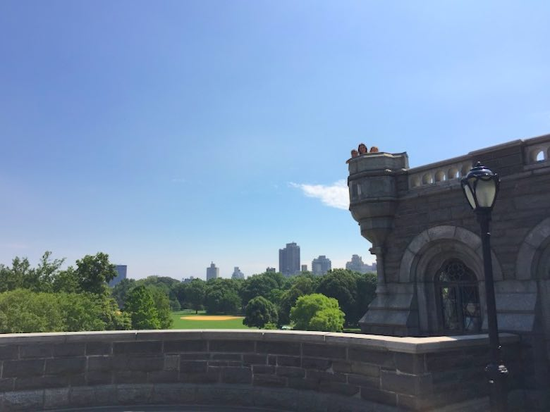Three ladies in their Belvedere Castle tower in Central Park
