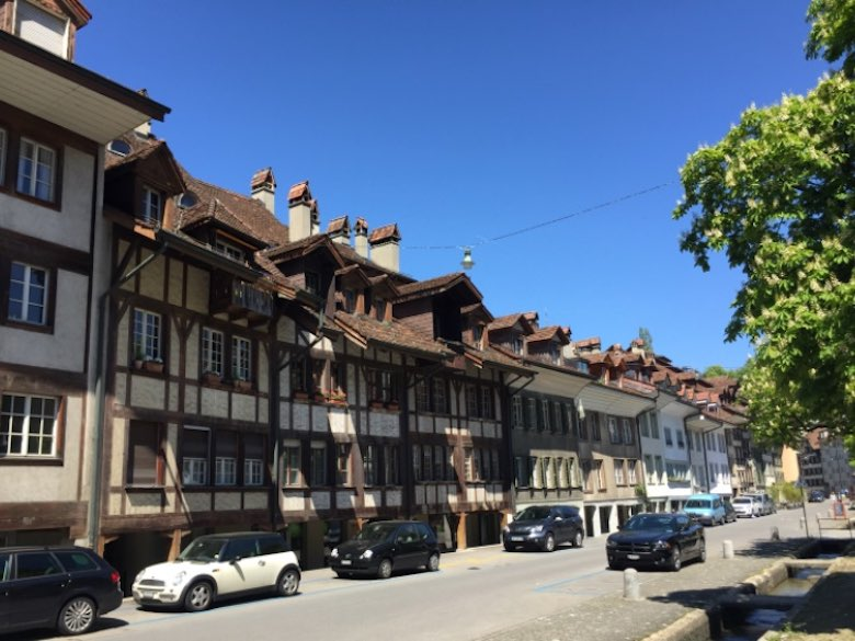 A row of typical houses in the Matte district, downtown Bern