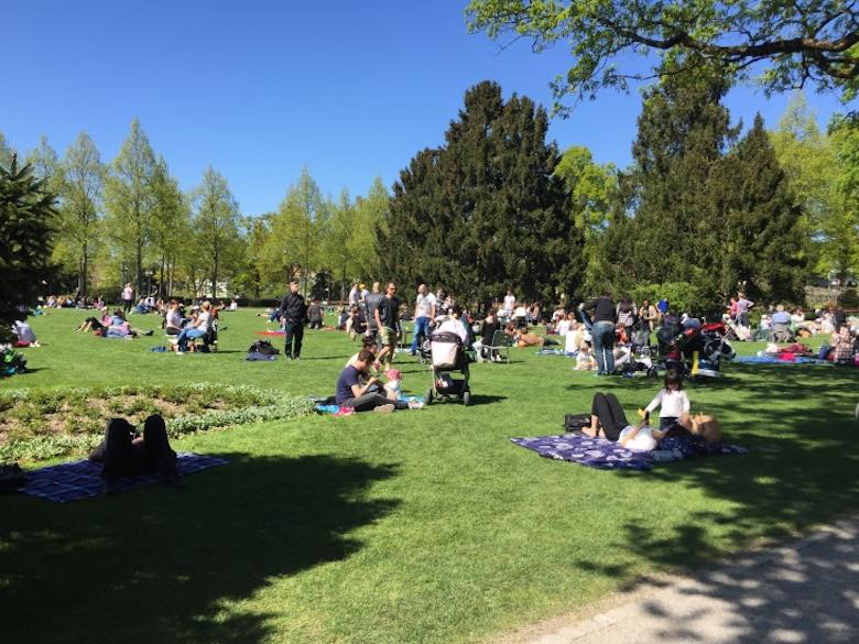 Families relaxing and picnicking in the Rosengarten in Bern