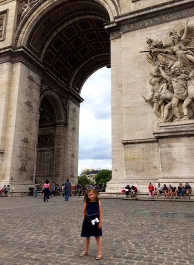 Little girl standing in front of the Arc de Triomphe during a mother-daughter trip to Paris
