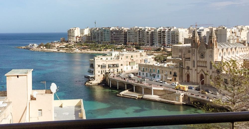 View over St Julians marina from our hotel room