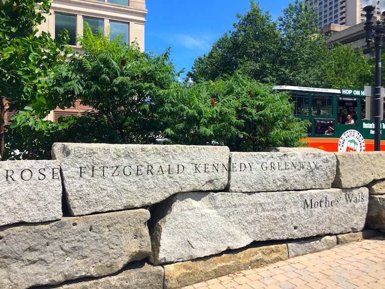 The name stones at the entrance of the Rose Fitzgerald Kennedy Greenway park in Boston