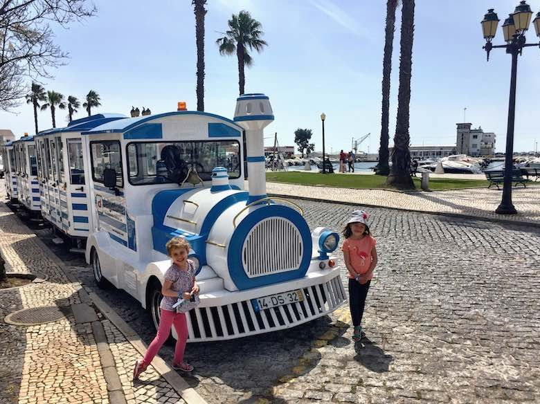 Touristic train in Faro in authentic Algarve in Portugal