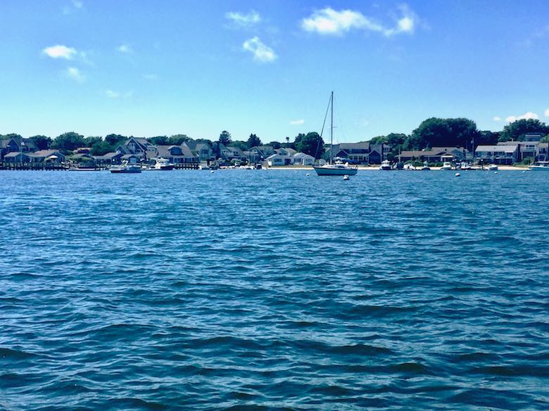 Hyannis marina in Cape Cod as seen from the water