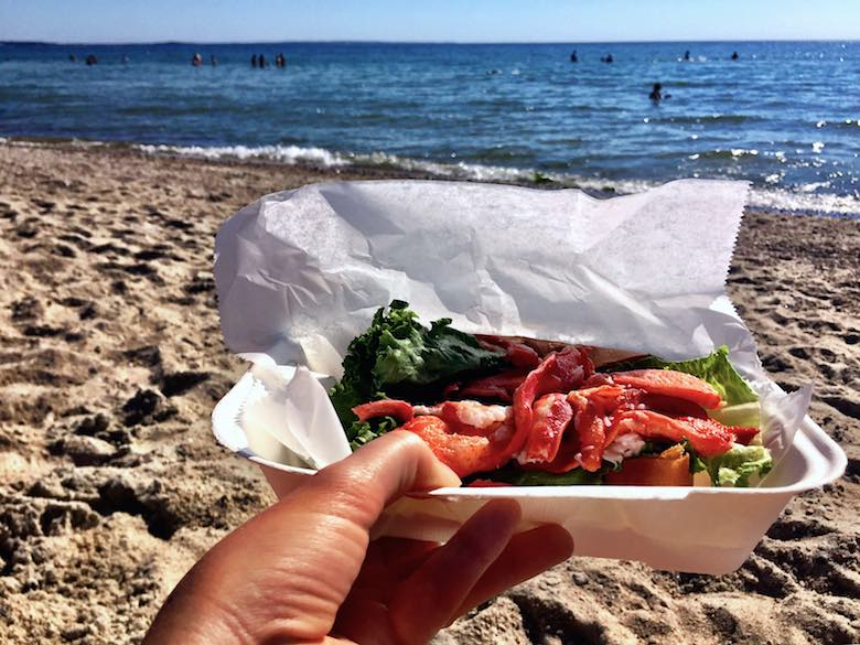 A lobster roll in a white box held in front of the camera on a beach, a great way to celebrate the simple life in Cape Cod