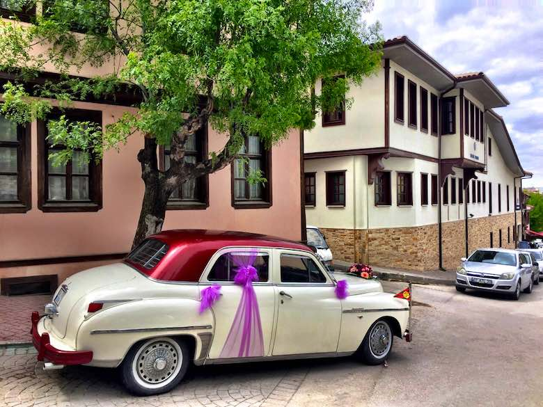 A classic car in the streets of Odunpazarı, the historic district of Turkish Eskişehir