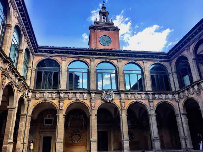 The courtyard of the Biblioteca comunale dell'Archiginnasio in Bologna, Italy
