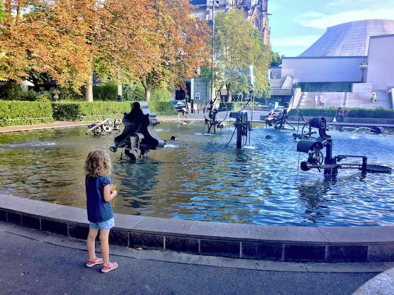 Jade overlooking the Tinguely Fountain in Basel