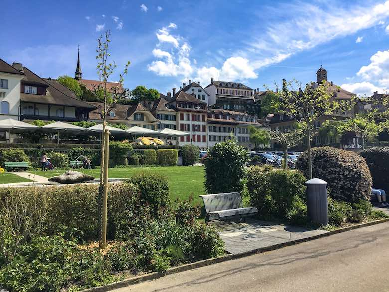View from the promenade along Lake Murten or Lac Morat