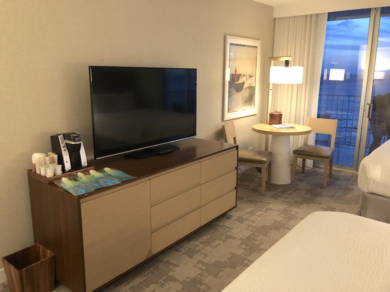 The Premier Ocean Front room in the Beachside tower of the Alohilani Resort in Waikiki Beach