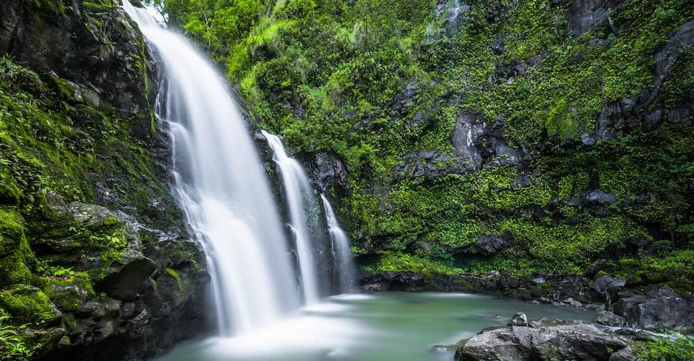 The Upper Waikani Falls, one of the most impressive Road to Hana stops