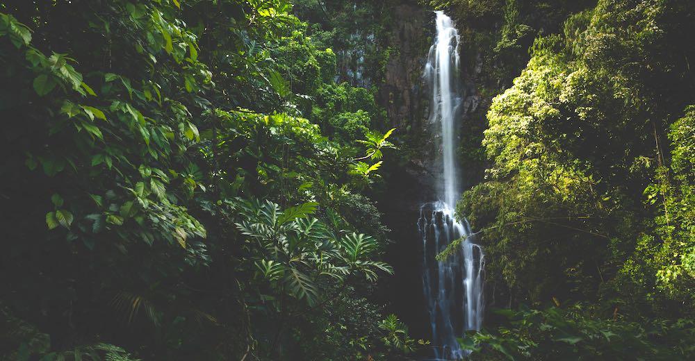 Wailua Falls, one of the Road to Hana stops beyond Hana near the 'Ohe'o Pools