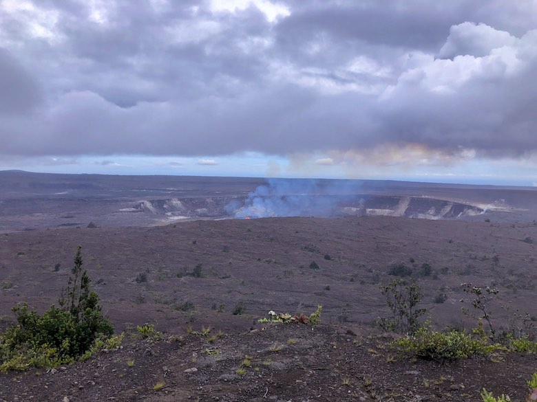 Steaming Halema'uma'u crater in Volcanoes National Park on Hawaii Big Island