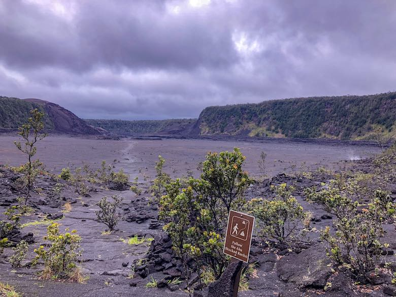 Looking over the crater lake that we crossed when hiking the Kilauea Iki Trail in Hawaii Volcanoes National Park on Big Island Hawaii