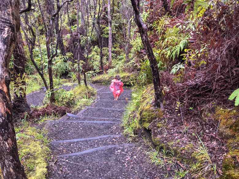 Little girl in red poncho walking the Kilauea Iki Trail in Volcanoes National Park Hawaii