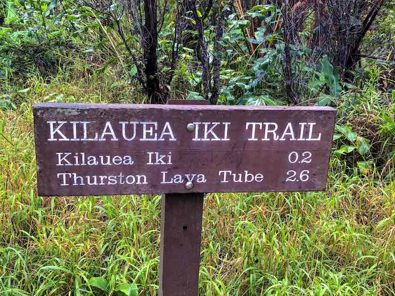 Signpost to the Kilauea Iki Trail and Thurston Lava Tube in Hawaii Volcanoes National Park on Big Island Hawaii