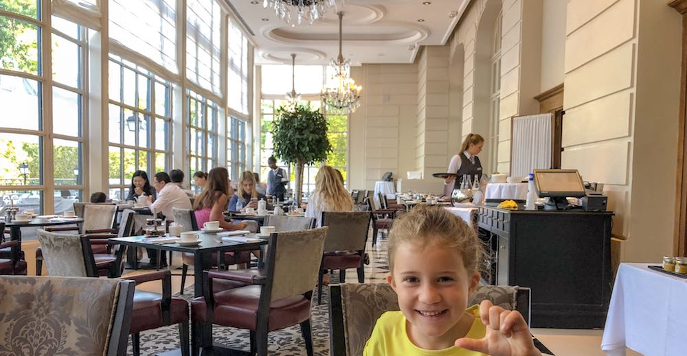 Breakfast in the La Véranda by Gordon Ramsey restaurant at the Waldorf Astoria Trianon Palace Versailles