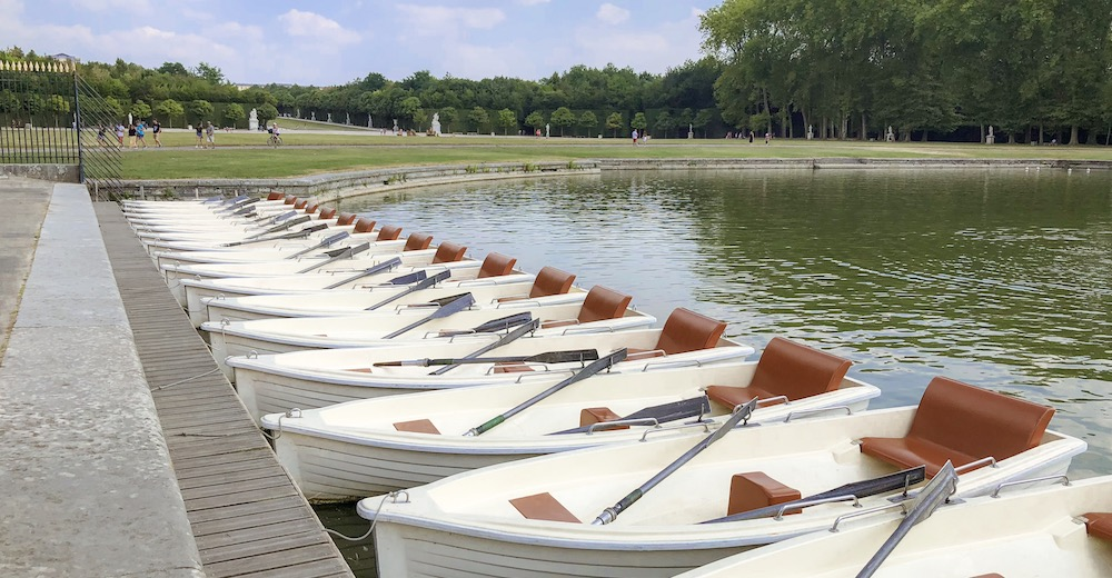 Rowing a boat on the Grand Canal while visiting Versailles