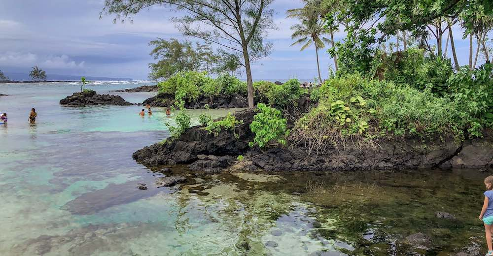 The lagune at Carlsmith Beach Park in Hilo Hawaii is one of the most unique beaches on the Big Island
