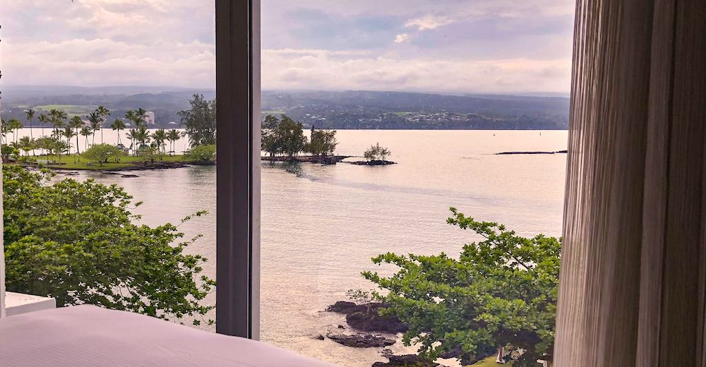 Evening view over Hilo bay from our room at the Grand Naniloa Hotel on Big Island Hawaii