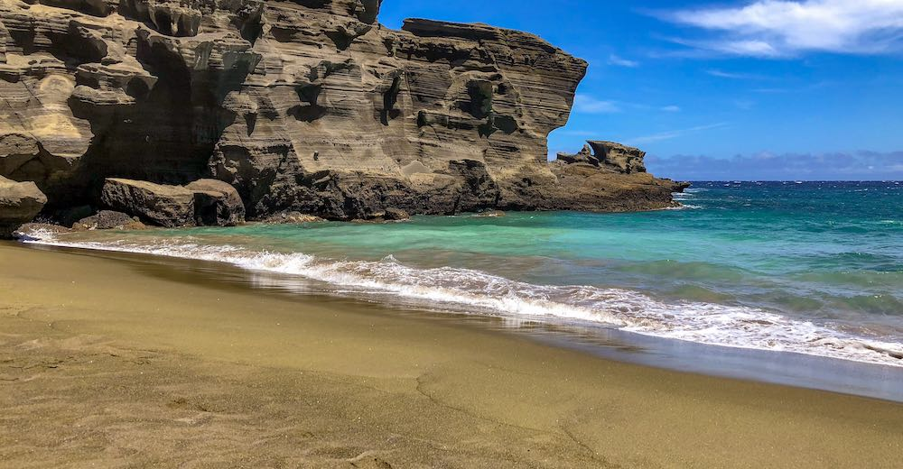 Papakolea green is one of the best beaches on the Big Island Hawaii