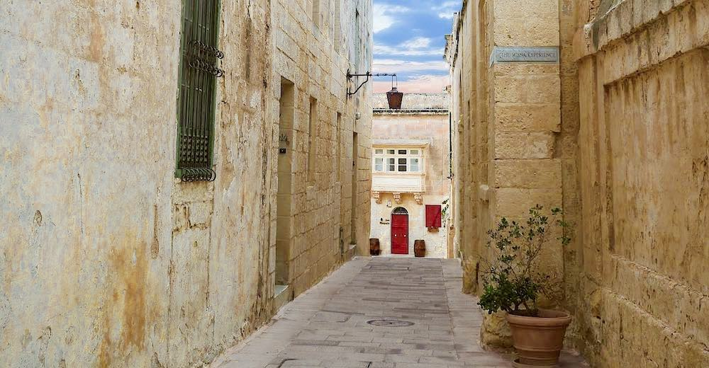 A narrow street in the Mdina, one of the main highlights of Malta