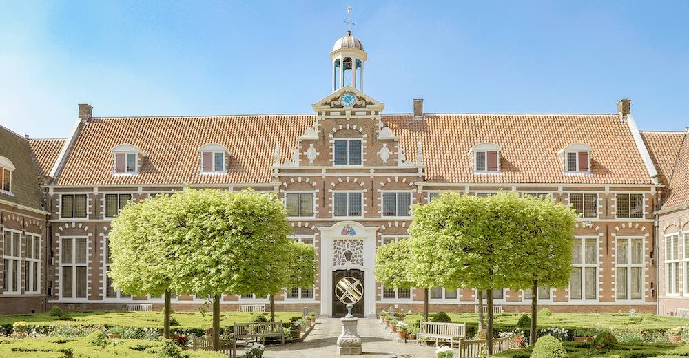 The courtyard of the Frans Hals museum in Haarlem Netherlands