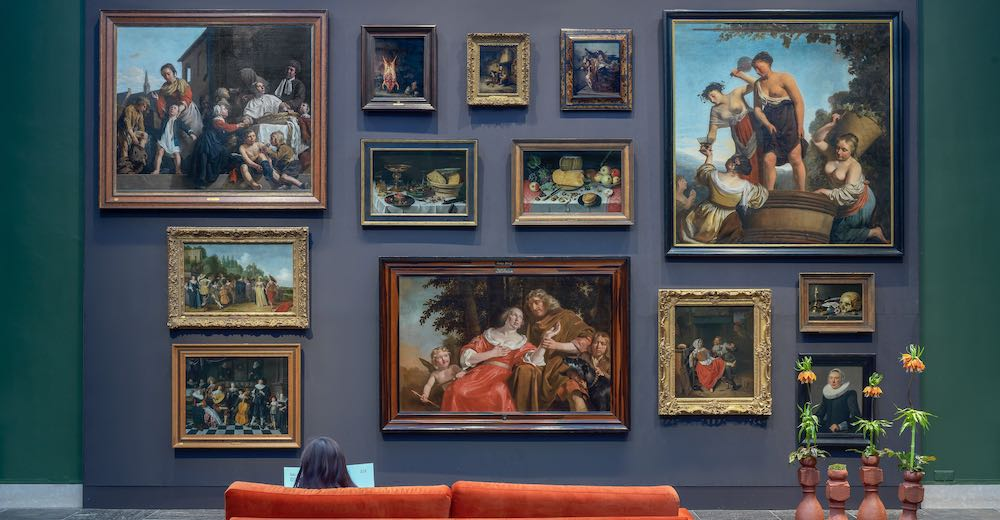 Paintings on the wall in the Frans Hals museum in Haarlem Netherlands