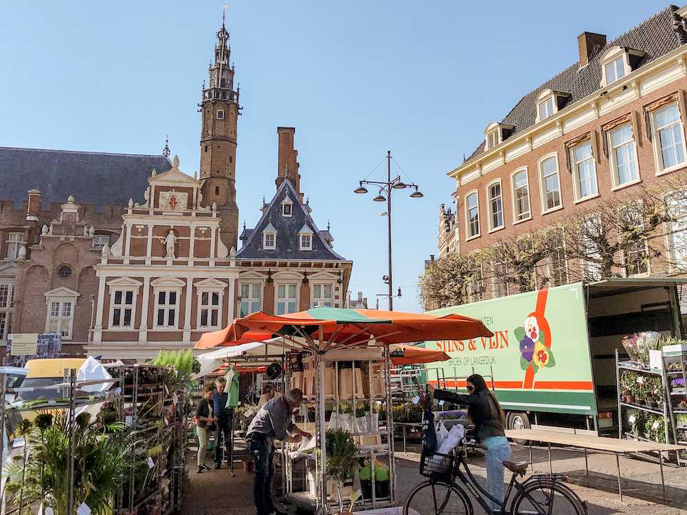 The Grote Markt in Haarlem Netherlands, where a flower market is being installed, and the city's Town Hall in the backdrop