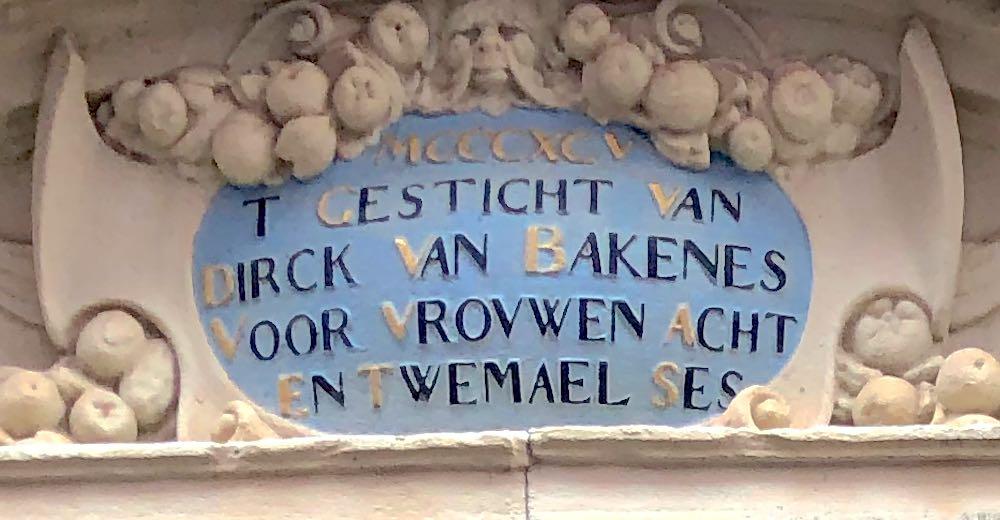 The keystone above the entrance of the Hofje van Bakenes in Haarlem Holland