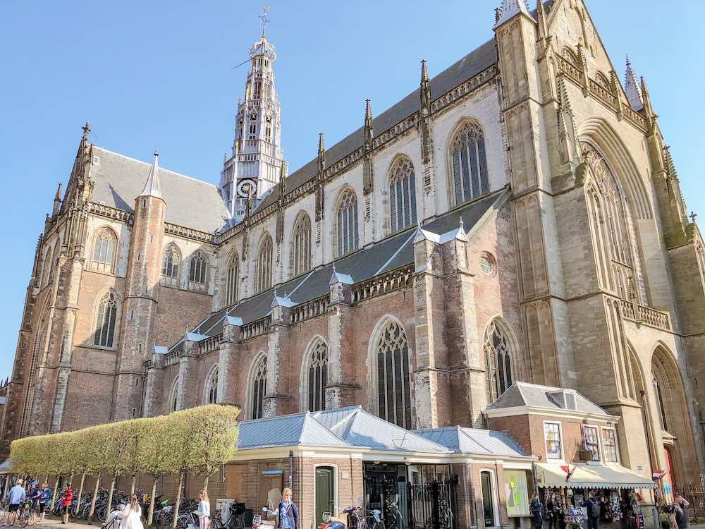 Exterior view of the St Bavo church or Grote Kerk in Haarlem Netherlands