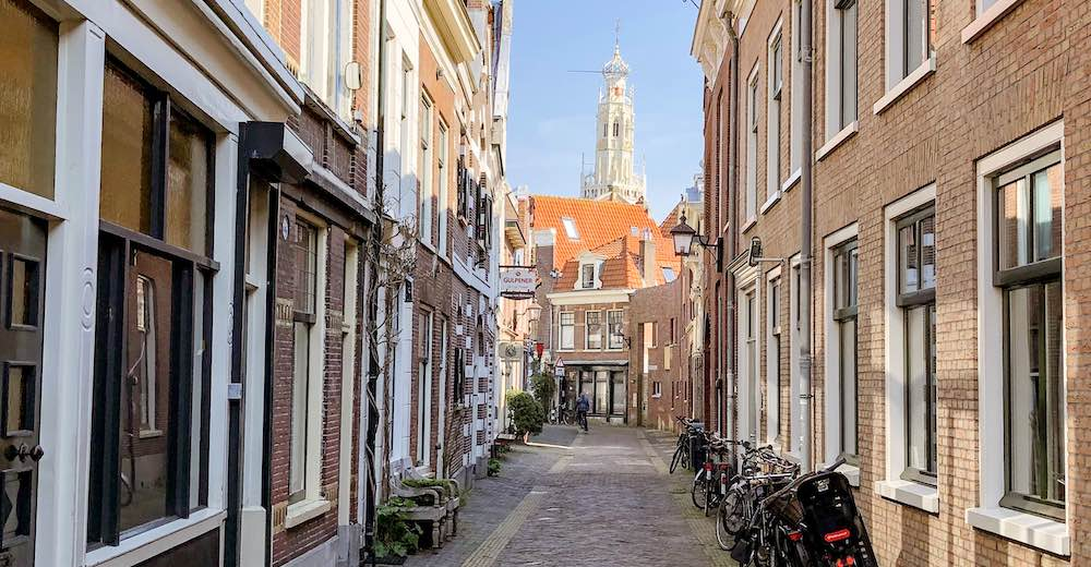 Street view of Haarlem Netherlands with the St Jacob Church in the backdrop