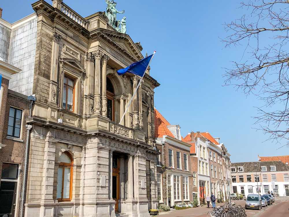 Exterior view of the Teylers museum in Haarlem Netherlands