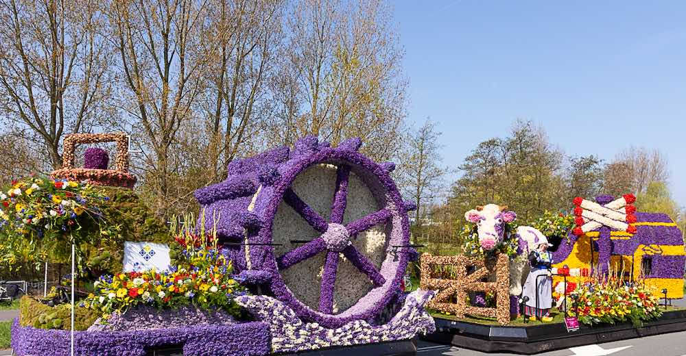 Bloemencorso flower festival in the Netherlands with colorful floats, decorated with flowers