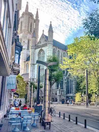 Side view of the St Bavo's Cathedral in Ghent Belgium