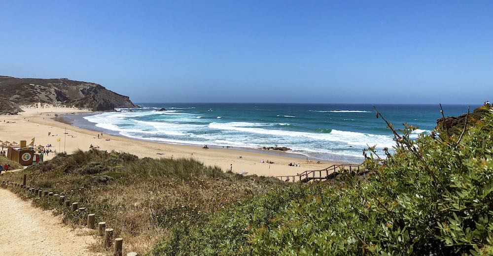 View over Praia do Amado at the Costa Vicentina, one of the best Portuguese beaches for surfing