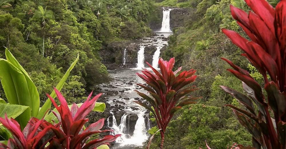 Umauma Falls big waterfall Big Island Hawaii