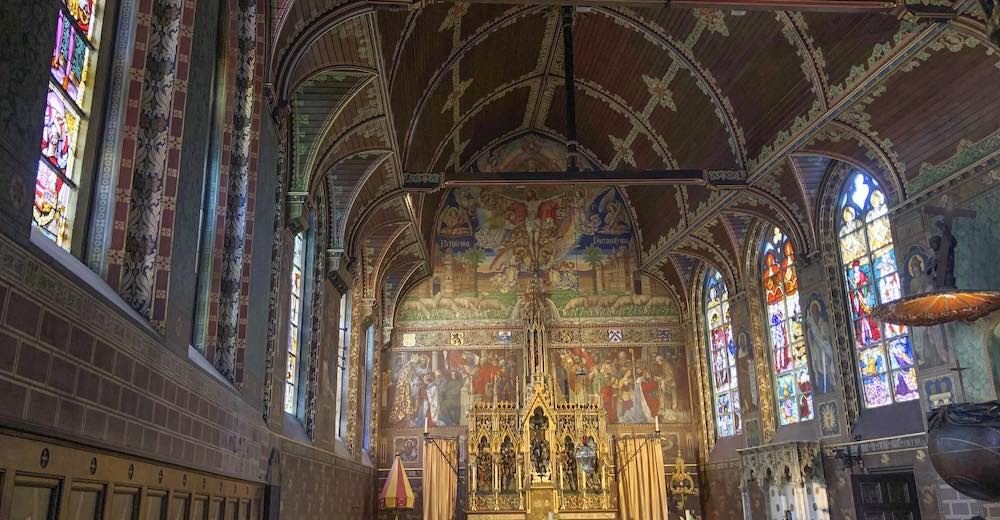 Decorated walls of Chapel of the Holy Blood in Bruges Belgium