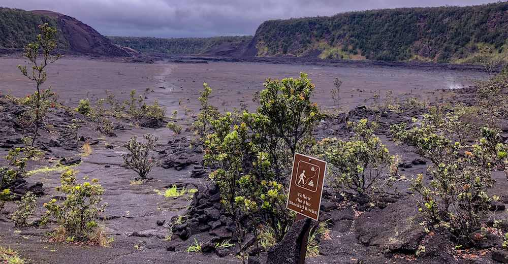 Inside the Kilauea Iki crater, the most active volcano in the world and number 60 in this list of facts about Hawaii