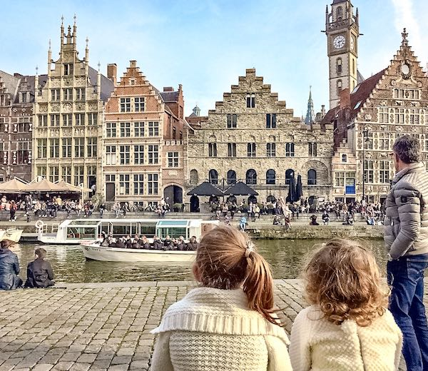 My husband and two girls overlooking the Graslei in the Belgium city Ghent