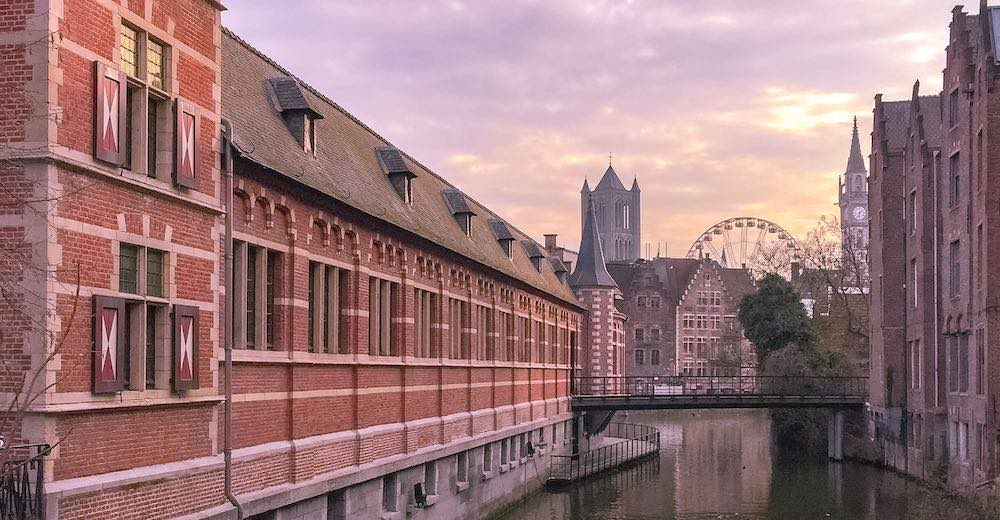 Sunset views over Ghent, one of the most beautiful cities in Belgium
