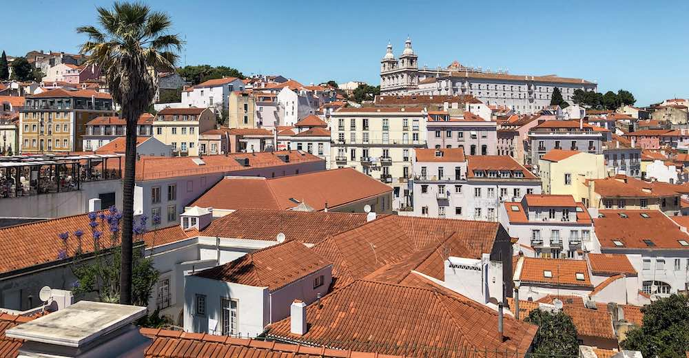 Rooftop view over the oldest Lisbon districts