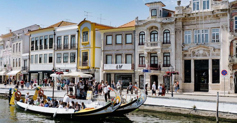 Molineiro boat on the canal in Aveiro which is becoming one of the popular places to visit in Portugal