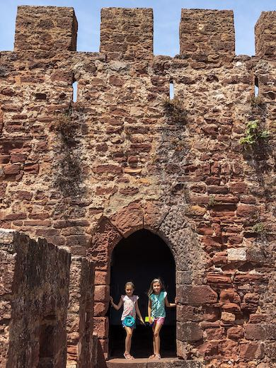 Two girls in the Castle of Silves, one of the cities in Portugal's inland Algarve