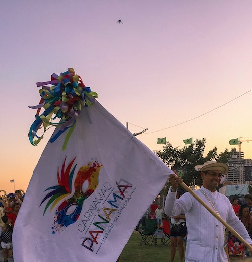 Man wearing a flag for carnaval Panama