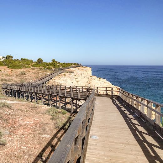 Boardwalk from Carvoeiro Algarve Portugal to Algar Seco
