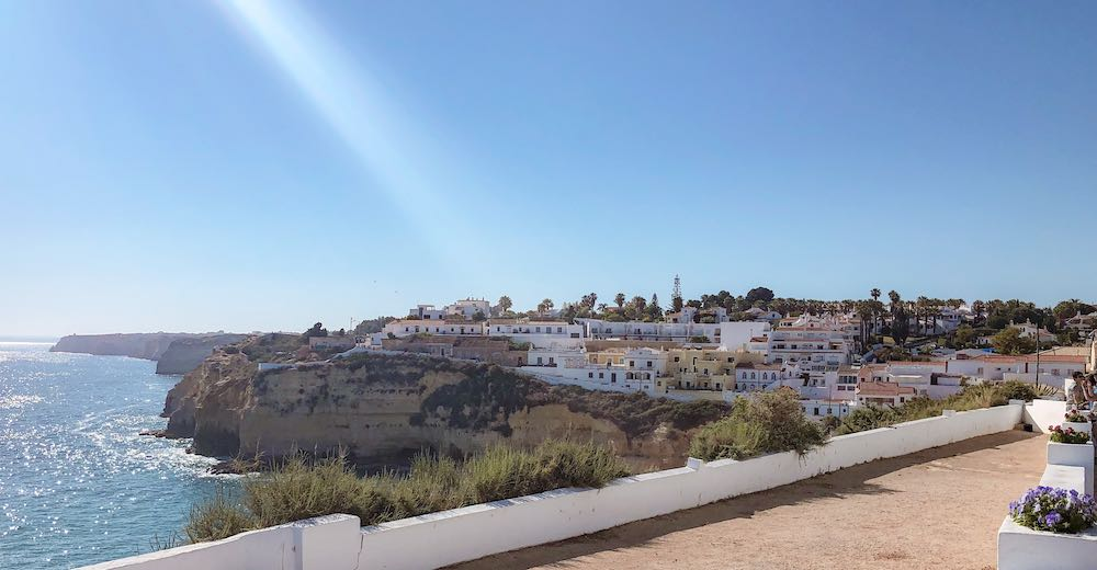 Town of Carvoeiro Portugal is perched on a cliff