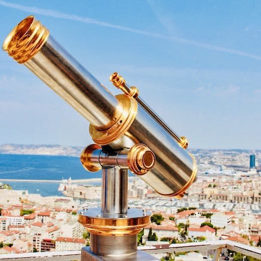 Gorgeous panorama from the viewing platform of the Basilique Notre Dame de la Garde over the Vieux Port de Marseille France